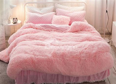 Fluffy Bedding Sets Princess Style Solid Pink With Quilting Bed Skirts Thick 4 Fluffy Bedding Sets