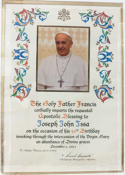 Wedding Blessing By The Pope by Papal Blessing Wedding Anniversary