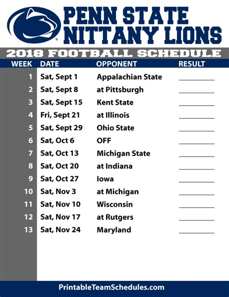 printable lions schedule 2016 penn state schedule calendar template 2016
