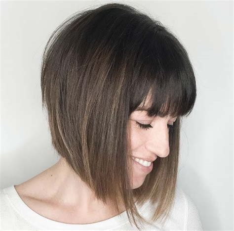 inverted bob with swoop bangs 40 classy bob hairstyles with bangs style skinner