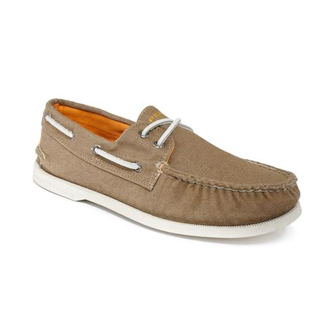 sperry top sider ao soft canvas boat shoes in beige for