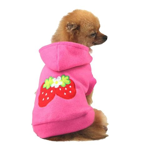clothes for dogs pet puppy lovely strawberry hoodie apparel warm coat jacket clothes