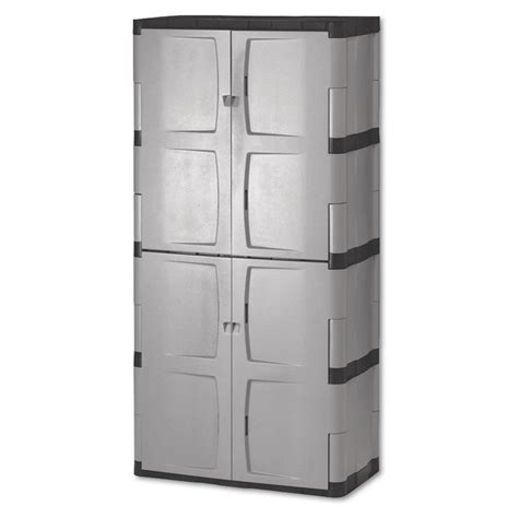 Rubbermaid Plastic Storage Cabinet Shop Rubbermaid Commercial Products 72 In X 36 In 2 Drawer Plastic Tool Cabinet Gray Silver At