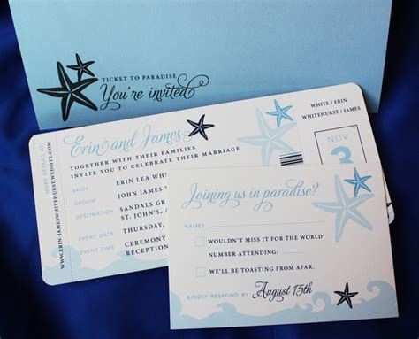 blue waves and starfish airline ticket wedding invitations