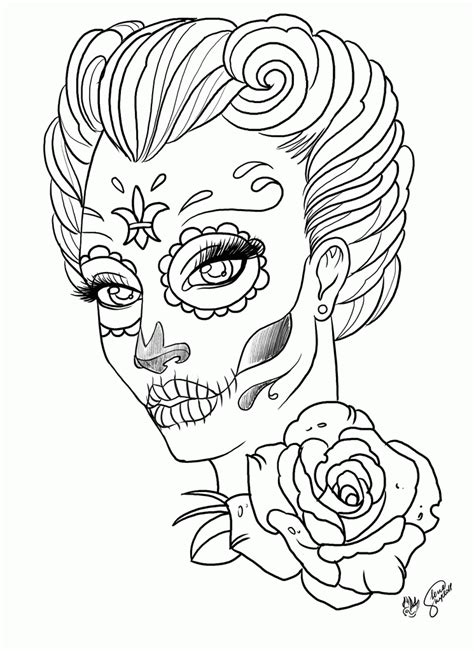 sugar skull coloring page pdf coloring pages coloring pages for adult tattoo sugar