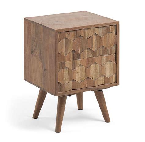 mesita de noche tallada mesita de noche madera acacia natural tallada www