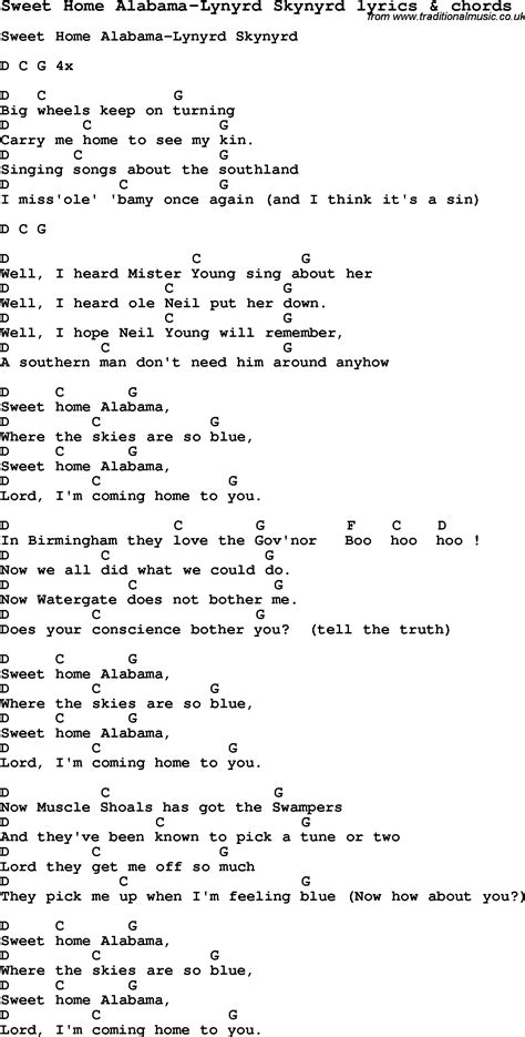 song lyrics for sweet home alabama lynyrd skynyrd