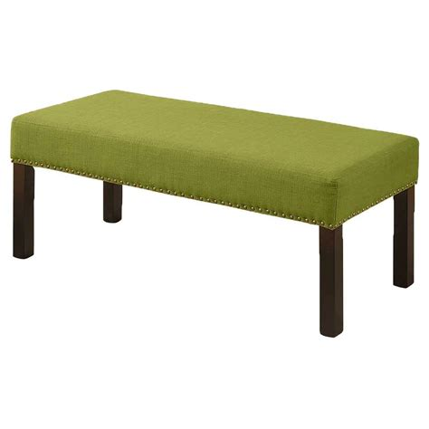 green upholstered bench alma contemporary fabric upholstered decorative bench with