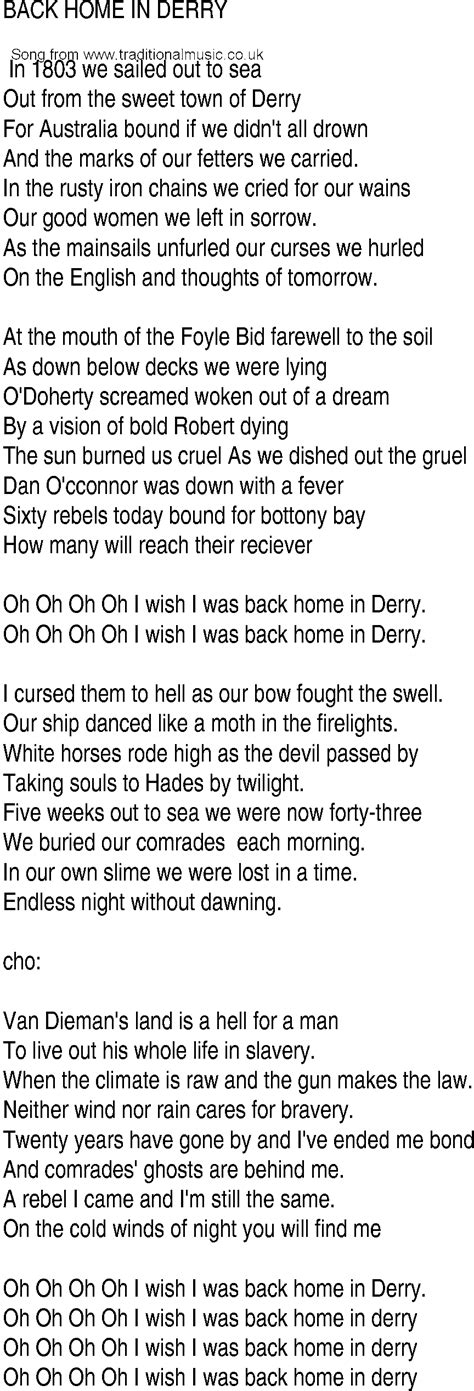 song and ballad lyrics for back home in derry