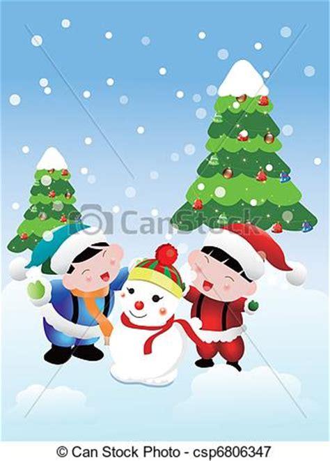 christmas card  children  heaping snowman