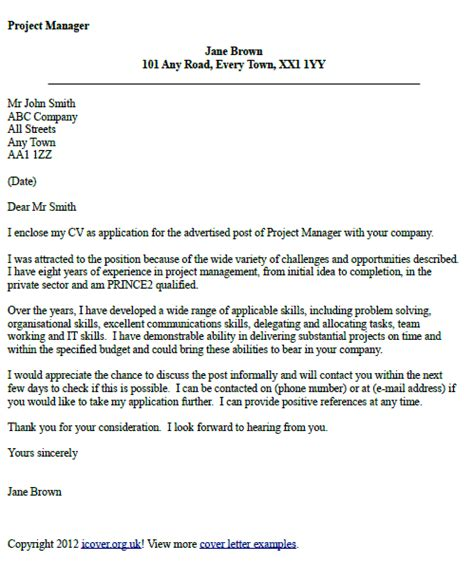 cover letter uk exles project manager cover letter exle icover org uk