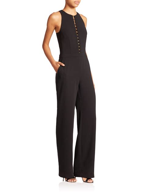 Fashion Black Hardware lyst crepe hardware jumpsuit in black