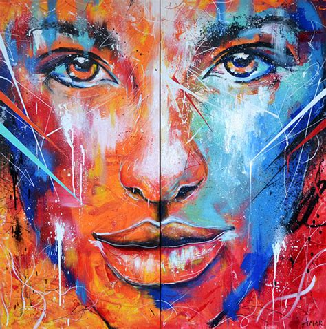 spray paint faces and abstract portrait painting on behance