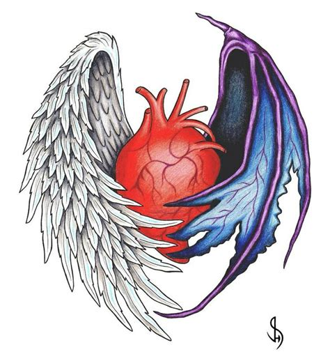 angel devil heart tattoo designs half half tmi and demons