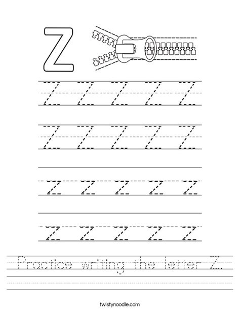 printable handwriting worksheets a z practice writing the letter z worksheet twisty noodle
