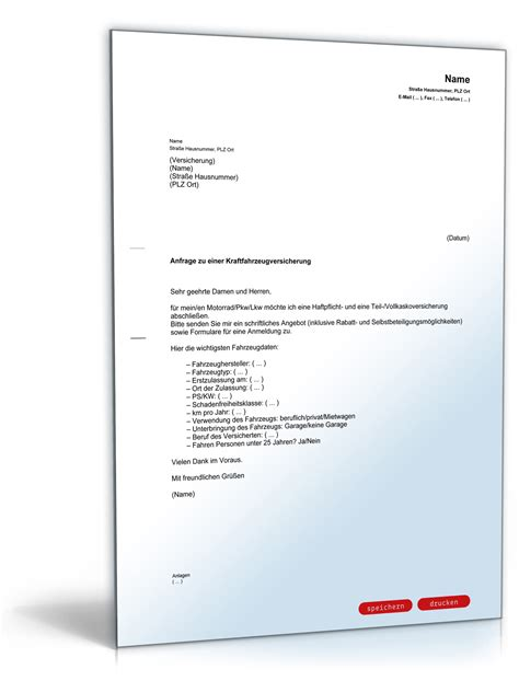 Anschreiben Alte Firma Anfrage Wegen Eines Angebotes F 252 R Eine Kfz Versicherung