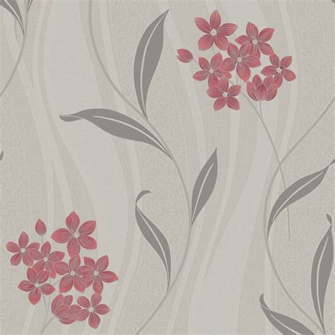 Glitter Wallpaper Wickes | graham brown elise floral leaf pattern wave vinyl