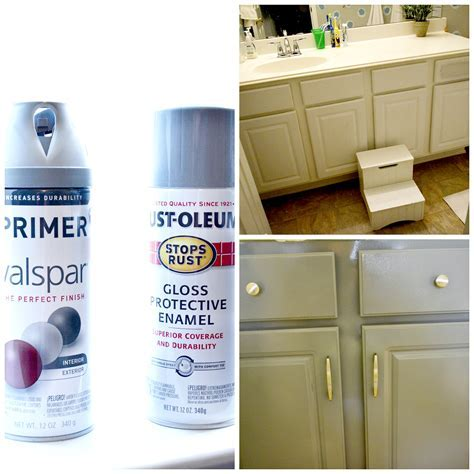 How to Spray Paint Cabinets Bathroom Makeover
