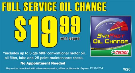 coupons offers synfast castrol oil change