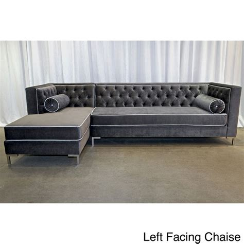 Overstock Tufted Sofa by Decenni Tobias Regency Velvet Tufted 8 Foot Sectional