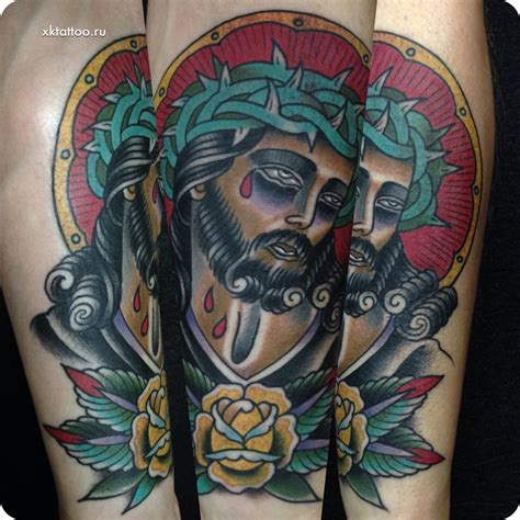 traditional jesus tattoo of jesus by dmitriy rechnoy re4noy