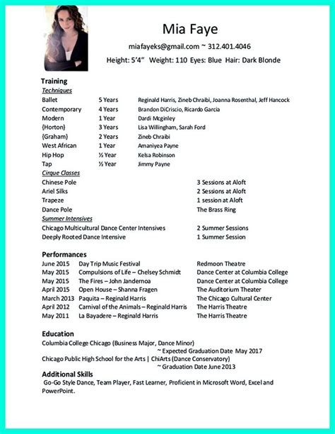 dancer resume exles 7 best career stuff images on cv format