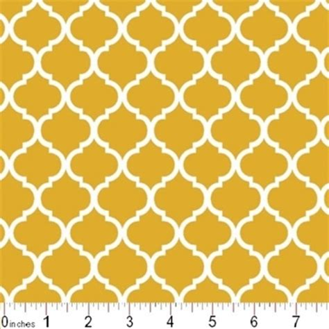 Mustard Yellow Pattern Fabric | cotton fabric pattern fabric mini quatrefoil lattice