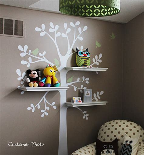 shelving tree decal with birds by simple shapes