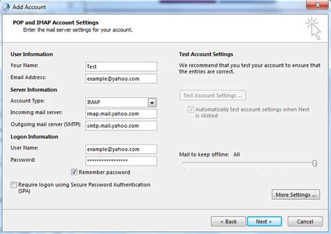 yahoo email outgoing server settings how to setup yahoo mail in ms outlook 2013 in email client