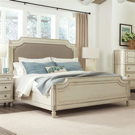 Huntleigh wood amp upholstered panel bed in vintage white humble abode