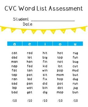 cvvc pattern words list cvc word list assessment freebie by misspower teachers