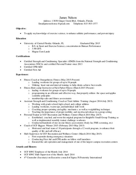 strengths for resume nelson strength and conditioning resume