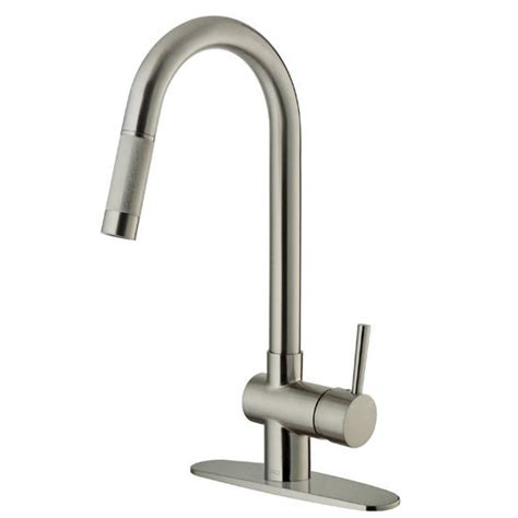 vigo kitchen faucet vigo pull out spray kitchen faucet with deck plate stainless steel finish measuring 17 5 8 h