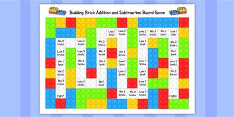 printable board games eyfs building brick addition and subtraction board game add