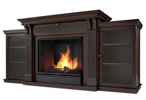 67 quot walnut entertainment center gel fireplace