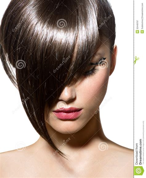 clothing style with short hair cut fashion haircut stock image image of hairstyle long
