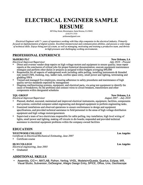 electrical engineer resume template electrical engineer resume sle resume genius