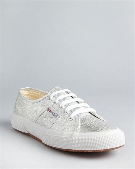 superga sneakers silver superga classic lame sneakers in silver lyst
