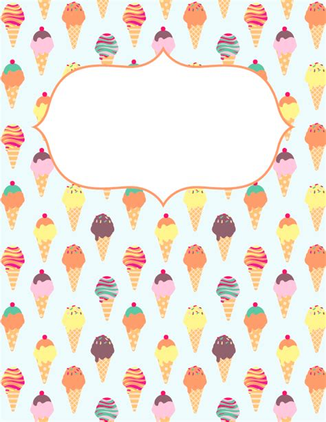 easy printable binder covers free printable ice cream binder cover template download