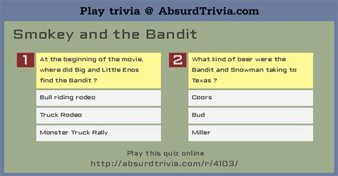 dogs name in smokey and the bandit trivia quiz smokey and the bandit