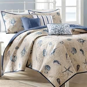 nantucket coastal seashell 6 pc coverlet bed set