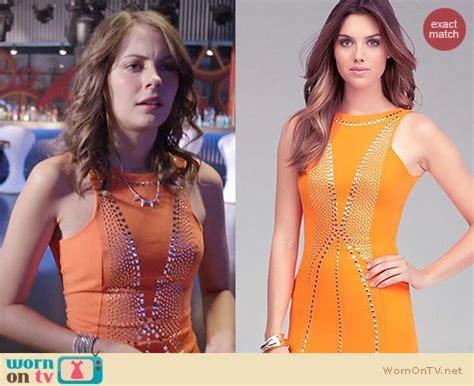 Fashion Speedy Studed 17018 09 1 wornontv thea s orange studded bodycon dress on arrow willa clothes and wardrobe