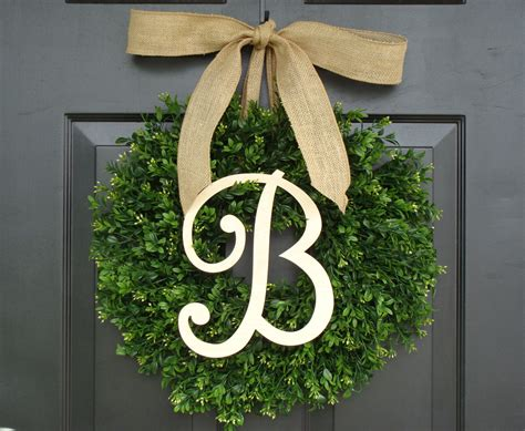 Boxwood Wreath Monogram Wreath And Monogram Boxwood Wreath Fall Monogram Wreath With Burlap Bow