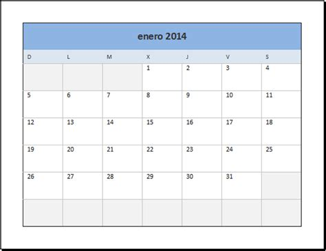 Calendario De Meses Calendario 2014 En Excel Excel Total