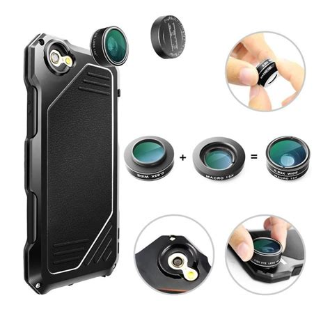 r just iphone 6s with fisheye lense aluminum metal lens kit for iphone 6 6s