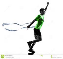 One caucasian man young sprinter runner running winner at finish line