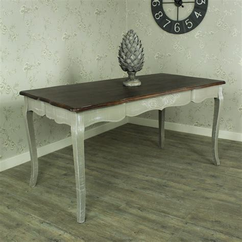 Large grey wash dining table dark wood top shabby french chic country furniture ebay