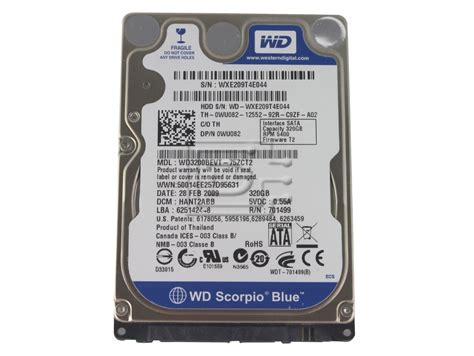 Hardisk Wd 320gb Second western digital scorpio blue wd3200bevt 320gb 5 4k sff 2 5