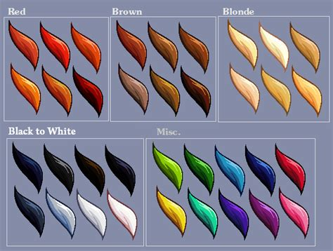 anime color chart hair colour swatches by lizalot on deviantart