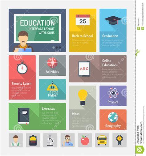 4 designer illustration style education education flat web elements with icons royalty free stock